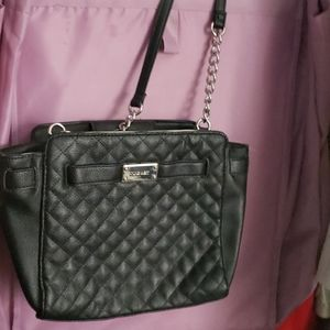 Black leather quilted texture purse